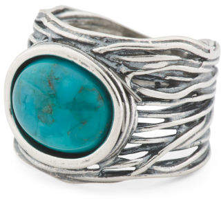 Made In Israel Sterling Silver Turquoise Ring