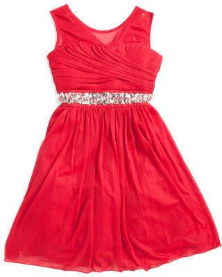 Big Girls Jeweled Waist Illusion Neck Special Occasion Dress