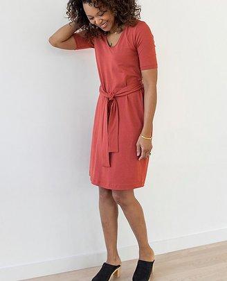 Women Tie Waist Dress In Stretch Jersey $88 thestylecure.com