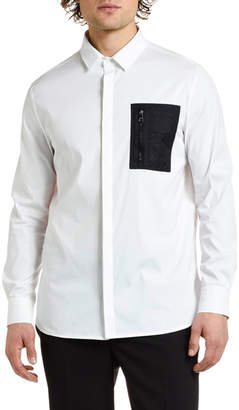 Neil Barrett Men's Nylon-Pocket Sport Shirt