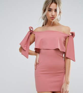 Missguided Petite Bardot Tie Shoulder Bodycon Dress