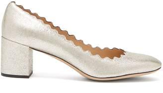 Chloé Lauren scalloped-edge leather pumps