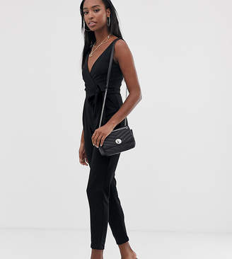 Outrageous Fortune Tall tie waist jumpsuit in Black