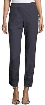 St. John Twill Cropped Eyelet Stretch Pants