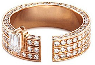 Dauphin 'Disruptive' diamond 18k rose gold three tier ring