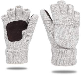 EGOGO Knit Convertible Fingerless Gloves Warm Wool Mittens Suede Thermal Insulation Mittens Gloves For Men and Women E605-1