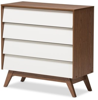 Mid-Century MODERN Baxton Studios Baxton Studio Hildon White and Walnut Wood 4-Drawer Storage Chest