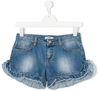 MSGM ruffled denim shorts