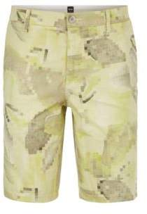 BOSS Hugo Digi-Camo Sateen Cotton Short, Slim Fit Liem Print W 34R Light Green