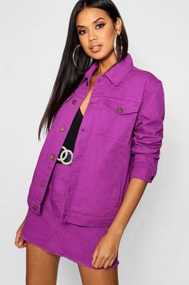 boohoo Purple Oversized Denim Jacket