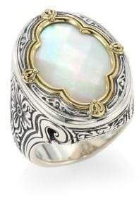 Konstantino Faceted Mother Of Pearl, Sterling Silver& 18K Yellow Gold Ring