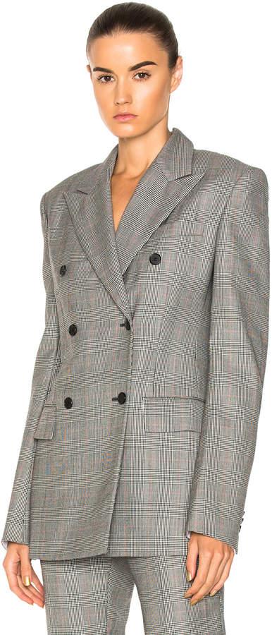 CALVIN KLEIN 205W39NYC Glen Plaid Fine Worsted Wool Double Breasted Blazer