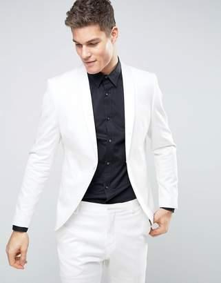 Selected Slim White Tuxedo Jacket