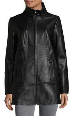 Jones New York Plus Size Zip-Front Leather Jacket