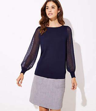 LOFT Swiss Dot Sleeve Sweater