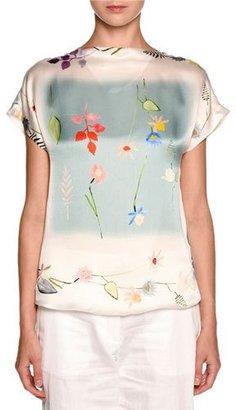 Giorgio Armani Floral Short-Sleeve Chiffon Tee, White/Multi $1,895 thestylecure.com