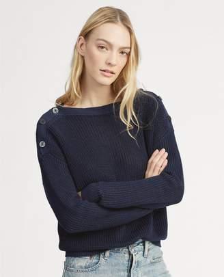 Ralph Lauren Button-Shoulder Linen Sweater