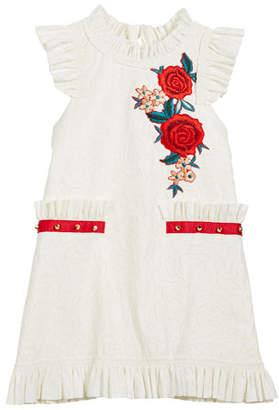 Zoe Ruffle-Edge Faux-Leather Burnout Floral Dress, Size 7-16