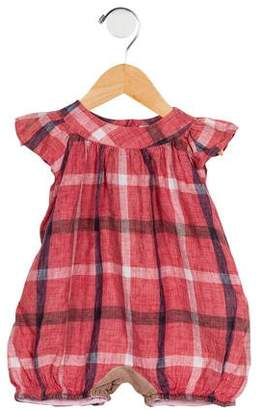 Il Gufo Girls' Linen Plaid All-In-One