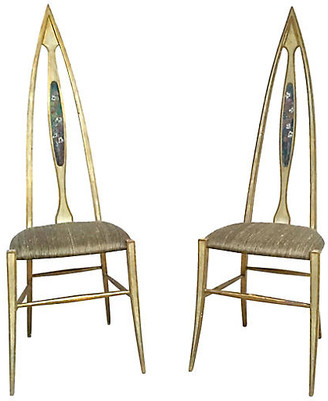 One Kings Lane Vintage Abstract Italian Chairs - Set of 2 - Vermilion Designs