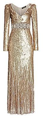 Jenny Packham Women's Deep V-Neck Long-Sleeve Sequin Gown