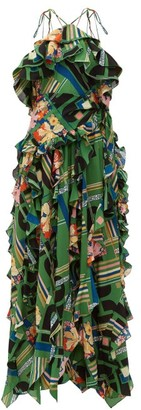 Gucci Floral Check Print Ruffled Silk Crepe Gown - Womens - Green Multi