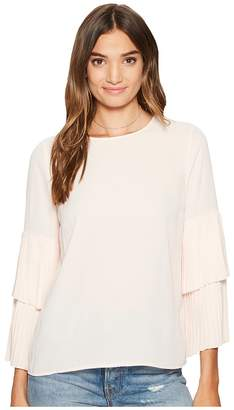 1 STATE 1.STATE Long Sleeve Pleated Sleeve Blouse Women's Long Sleeve Pullover