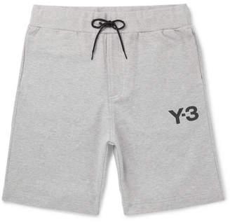 Y-3 Logo-Print Mélange Stretch-Cotton Jersey Shorts