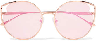 Cat Eye For Art's Sake - Cat-eye Rose Gold-tone Sunglasses - Pastel pink