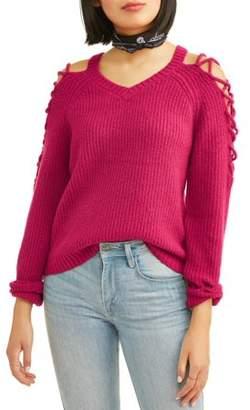 Deep Sugar Juniors' V-Neck Caged Sleeve Pullover Sweater