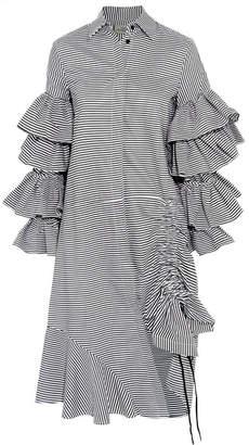 Shona Ruffled Striped Cotton Shirt Dress - White