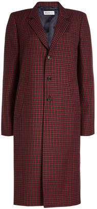 Balenciaga Virgin Wool Checked Coat