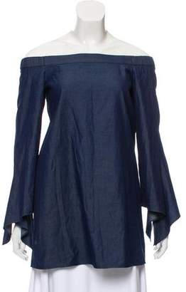 Tibi Chambray Off-The-Shoulder Tunic