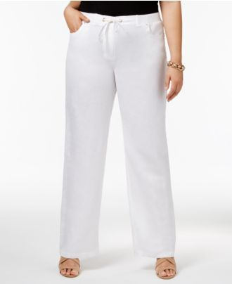 Plus Size White Linen Pants - ShopStyle Australia