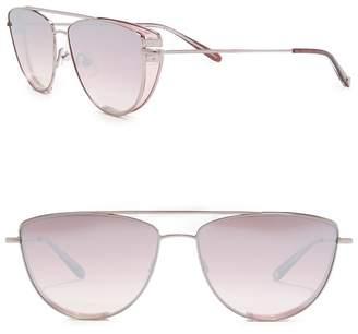 Garrett Leight Zephyr 57mm Cat Eye Aviator Sunglasses