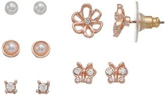 Lauren Conrad Butterfly & Flower Nickel Free Stud Earring Set