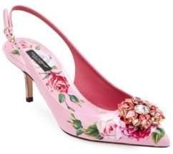 Dolce & Gabbana Floral-Print Slingback Pumps