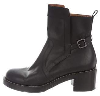 Balenciaga Leather Round-Toe Boots Black Leather Round-Toe Boots