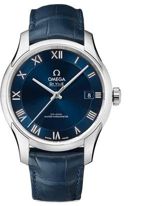Omega Men's 41mm Leather Band Steel Case Automatic Watch 43313412103001