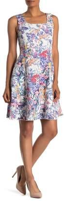 T Tahari Floral Sleeveless Skater Dress