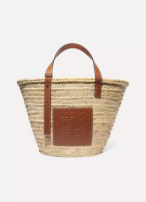 Loewe Large Leather-trimmed Woven Raffia Tote - Tan