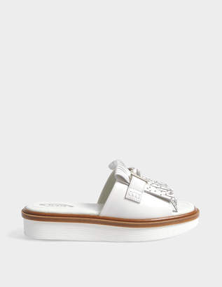 Tod's Slides with double T and stud detail