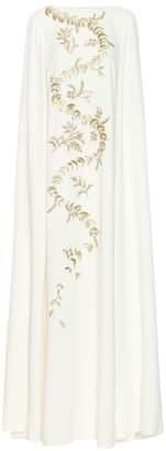 Oscar de la Renta Embroidered silk crepe de chine gown