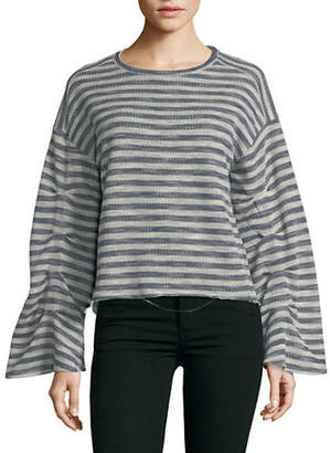Vince Camuto Long-Sleeve Foldover Striped Sweater