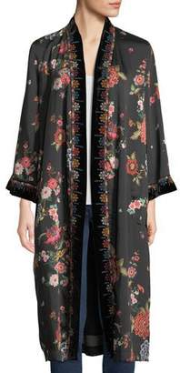 Johnny Was Velvet Mix Floral-Print Kimono Jacket