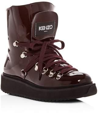 Kenzo Women's Alaska Patent Leather & Shearling Platform Booties