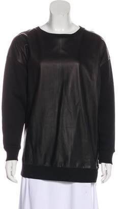 AllSaints Leather-Paneled Knit Sweatshirt