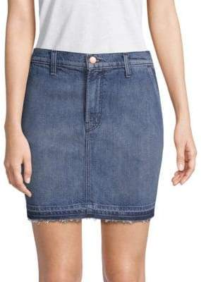 J Brand Washed Denim Mini Skirt
