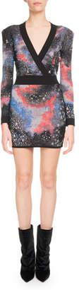 Balmain Long-Sleeve Deep-V Constellation-Print Mini Cocktail Dress