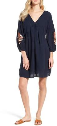 Caslon Embroidered Puff Sleeve Dress